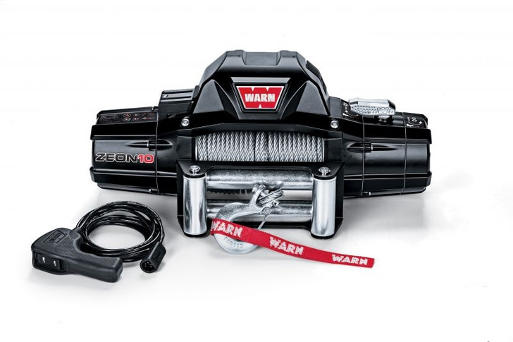 WARN 88990 ZEON 10 Winch with 80' Wire Rope and Roller Fairlead
