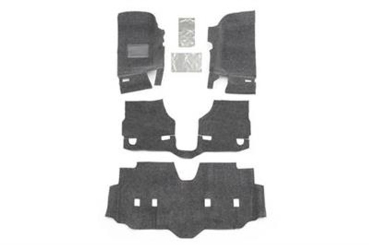 This fully custom-molded die cut system is sold as a separate front and rear kit and installs quickly without the need to remove any seat brackets or the center console. Individual pieces can be quickly removed and hosed off after a long day on the trail if desired. The BedRug material is 100% waterproof, dries quickly, resists all harsh chemicals, and will not stain, stink, mold or mildew. The 1/4-inch thick 100% polypropylene foam insulates your interior from road noise and heat. BedRug liners vs. spray-in liners? Quick install and removal - no removal of seats or center console necessary. Heat and noise insulation and removal or grinding of factory paint not necessary.2007-14 Jeep JK Wrangler Unlimited and Rubicon Unlimited4-door models4 piece frontIncludes heat shields100% Polypropylene waterproof carpet-like fibersCompletely removableUV and fade resistantQuick and easy installation3-year warrantyInstalls in an hourHook and loop fasteners (velcro)Made in the USA