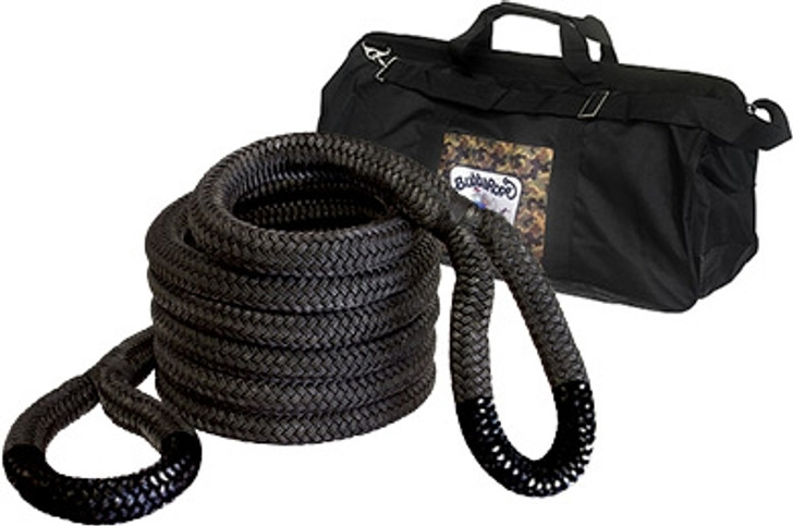 """Breaking Strength: 131,500 lbs.2"""" x 30' — The Extreme Bubba is ideal for safely recovering heavy-duty vehicles such as tractors, semis and dump trucks from sticky situations! Extreme Bubba comes with a special velcro web strap for handy carrying. Extreme now comes with a Extreme Bubba gear bag (32"""" x 12"""" x 16"""").Extreme Bubba Standard Eye Color: Black"""