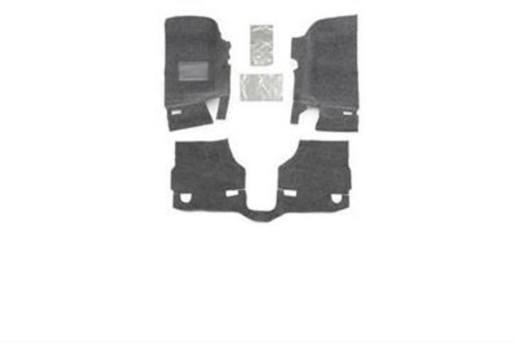 This fully custom-molded die cut system is sold as a separate front and rear kit and installs quickly without the need to remove any seat brackets or the center console. Individual pieces can be quickly removed and hosed off after a long day on the trail if desired. The BedRug material is 100% waterproof, dries quickly, resists all harsh chemicals, and will not stain, stink, mold or mildew. The 1/4-inch thick 100% polypropylene foam insulates your interior from road noise and heat. BedRug liners vs. spray-in liners? Quick install and removal - no removal of seats or center console necessary. Heat and noise insulation and removal or grinding of factory paint not necessary.2011-14 Jeep JK Wrangler and Rubicon2-door models3 piece frontIncludes heat shields100% Polypropylene waterproof carpet-like fibersCompletely removableUV and fade resistantQuick and easy installation3-year warrantyInstalls in an hourHook and loop fasteners (velcro)Made in the USA