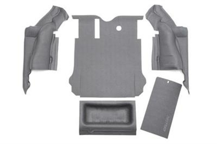 If you want a floor liner that won't damage your Jeep, isn't permanent and won't lower your resale value, BedTred is for you. It provides a rugged work surface that is tough enough to withstand dents and dings while protecting your most fragile cargo from sliding around inside your Jeep. The BedTred system gives you the rugged spray-in lock without the need of any labor intensive prepping and installs with hook and loop fasteners, without damaging the floor. While traditional spray-in liners can quickly fade and chalk, the BedTred material is fade and UV resistant. 100% waterproof, completely mold and mildew resistant, dry quickly and will not stain with oil or harsh chemicals. Quick and easy installation. 5 pieces: Drivers wheel well, passengers wheel well, rear cargo floor, tub liner and tailgate. 3 year warranty. Bedrug does not recommend additional mats and liners because the nibs on the back of mats or liners will not grip, but rather slide on the BedTred material.2011-14 Jeep JK Wrangler Unlimited and Rubicon Unlimited4-door models5 piece rear cargo kitIncludes tub and tailgate liners100% Polypropylene waterproof spray-in lookUV and fade resistantQuick and easy installation3-year warrantyInstalls in an hourHook and loop fasteners (velcro)Made in the USA