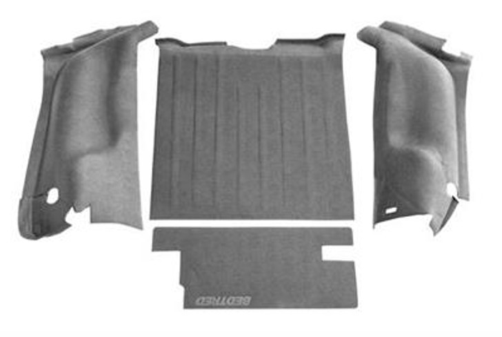 If you want a floor liner that won't damage your Jeep, isn't permanent and won't lower your resale value, BedTred is for you. It provides a rugged work surface that is tough enough to withstand dents and dings while protecting your most fragile cargo from sliding around inside your Jeep. The BedTred system gives you the rugged spray-in lock without the need of any labor intensive prepping and installs with hook and loop fasteners, without damaging the floor. While traditional spray-in liners can quickly fade and chalk, the BedTred material is fade and UV resistant. 100% waterproof, completely mold and mildew resistant, dry quickly and will not stain with oil or harsh chemicals. Quick and easy installation. 4 pieces: Drivers wheel well, passengers wheel well, rear cargo floor and tailgate. 3 year warranty. Bedrug does not recommend additional mats and liners because the nibs on the back of mats or liners will not grip, but rather slide on the BedTred material.Fits 1997 to 2006 TJ Wrangler and Rubicon4 piece rear100% Polypropylene waterproof spray-in lookCompletely removableUV and fade resistantQuick and easy installation3-year warrantyInstalls in an hourHook and loop fasteners (velcro)Made in the USA