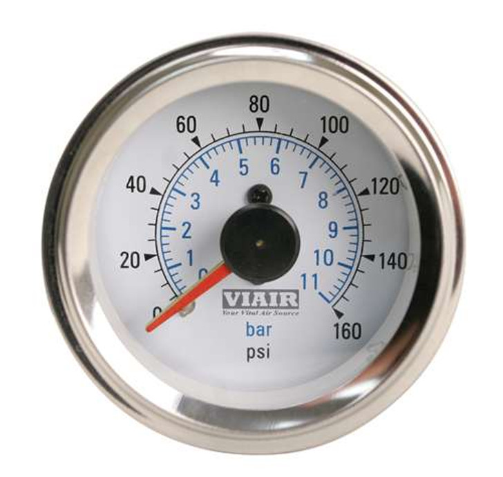 "VIAIR 2"" Dual Needle Gauge (White Face, Illuminated, 160 Psi)"