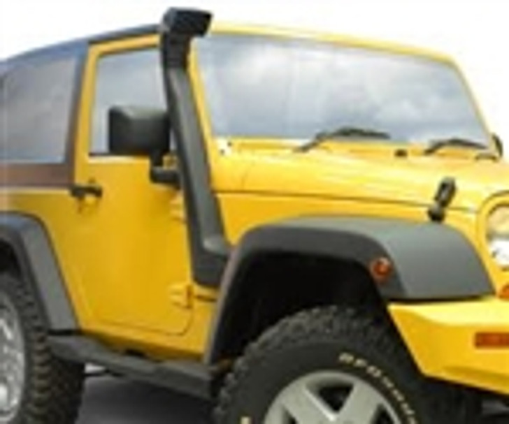 """ARB USA now offers a Safari Snorkel System for the popular Jeep Wrangler JK. This new accessory serves two primary functions that JK owners will appreciate when taking their vehicle off-road. First, and most obvious, the Safari Snorkel relocates the factory air intake position approximately 28"""" higher to prevent water ingestion when negotiating stream crossings. Even in relatively shallow water, the nose of the vehicle can easily become submerged as the front wheels drop into a stream or water hole and the rear wheels still on high ground.Second, and easily overlooked, the Safari Snorkel System is extremely advantageous for vehicles that are regularly driven in dusty conditions, especially when following other vehicles or driving in a convoy. As vehicles before you stir up dust and debris from the road surface, a heavy cloud of airborne particles tends to hover just a few feet above the ground. As your vehicle passes through the dust cloud, the factory air intake tries to draw the contaminated air into the engine. While a quality air filter will block the majority of dust from entering the engine, the air filter can quickly lose its effectiveness if it becomes clogged with debris.Aside from the risk of becoming stranded in a remote location, the Safari Snorkel System can prevent costly engine damage to vehicles that are regularly exposed to off-road conditions. Additionally, by drawing air from a higher position, your engine will be treated to cooler, cleaner air with higher density. Not only will this prevent damage to your engine, it may actually cause a noticeable improvement to performance and fuel economy.All Safari Snorkels are manufactured of UV stable, crosslinked polyethylene for the ultimate in strength and durability. Stainless steel and plated mounting hardware is used exclusively for corrosion resistance. Safari's unique evacuation system effectively disperses rain and unwanted moisture and high flow design ensures air supply in excess of engine require"""