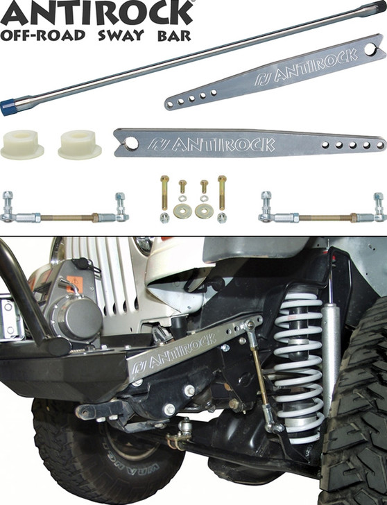 Currie Enterprises AntiRock Sway Bar Kit - With Modified 18 Inch Aluminum Arms - For TJ Front