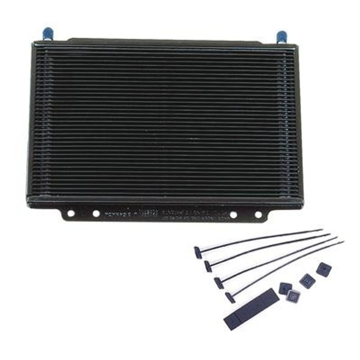 """The last thing you need in the middle of a race or a road trip is to have a transmission or engine go south because your oil cooler can't keep up. B&M's SuperCooler oil coolers will keep your transmission or engine cool and running in your time of need. They're made of lightweight aluminum, with an efficient """"stacked plate"""" design. Multiple cooling paths give them the cooling capacity of larger fan-and-tube coolers. And, because they have a low pressure-drop design, there is less oiling-system restriction.Overall Height (in) 8.500 in. Overall Width (in) 11.250 in. Overall Thickness (in) 1.000 in. Cooler Construction Plate Cooler Material Aluminum Inlet Size 3/8 in. Inlet Attachment Hose barb Outlet Size 3/8 in. Outlet Attachment Hose barb Number of Cooling Rows 36 Core Height (in) 7.000 in. Core Width (in) 11.250 in. Core Thickness (in) 1.000 in. Cooler Finish Black painted Quantity Sold individually. Notes Fittings and hose included with kit."""