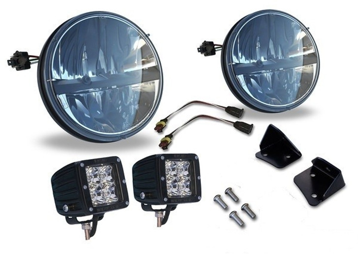 BUNDLE: Truck-Lite 7'' Round LED Headlamp, Rigid Dually LEDs, and Poison Spyder Mounts Kit