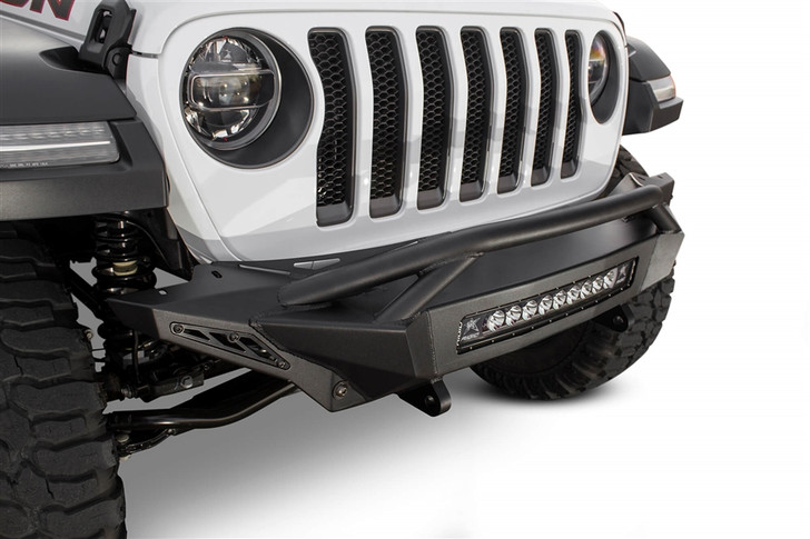 """Transform the frontend of your Jeep Wrangler JL with the Stealth Fighter front bumper. A radius plate steel construction gives your Jeep the perfect combination of strength and style. A patented universal light mounting system in the center of the bumper allows you to mount any size and brand of light up to a 20"""" radius light bar or 5 cube lights.Mounts for two additional cube lights, per side, can be found on the top corners of the Stealth Fighter front bumper to give your Jeep Wrangler additional lighting while offroading. Two front reinforced clevis mounts accept a 3/4"""" D-Ring to help out in tough situations.The Stealth Fighter Jeep JL front bumper provides a greater approach angle to maximize offroad performance and an optional top hoop configuration is available for additional protection. Available in both winch and non-winch configurations for Jeep enthusiasts who need the added utility. This completely bolt-on Jeep Wrangler JL front bumper comes in hammer black powder coat with satin black powder coat panels.Universal light mount in center; Up to 20"""" radius light bar or 5 cube lightsFour cube light mounts on top cornersRadius plate steel designGreater approach angleReinforced clevis mounts accept a 3/4"""" D-RingFully Bolt-onINSTALLATION INSTRUCTIONS"""