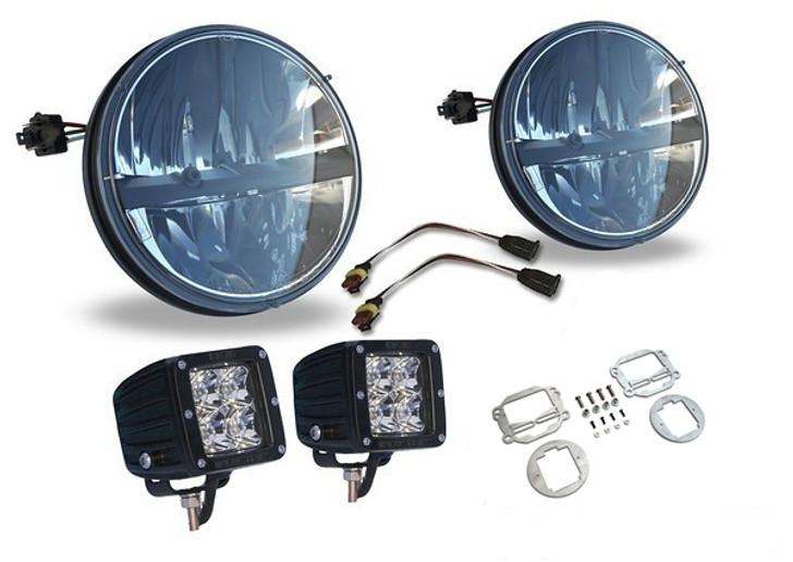 BUNDLE: Truck-Lite 7'' Round LED Headlamp, Rigid Dually LEDs, and Rigid Fog Mounts