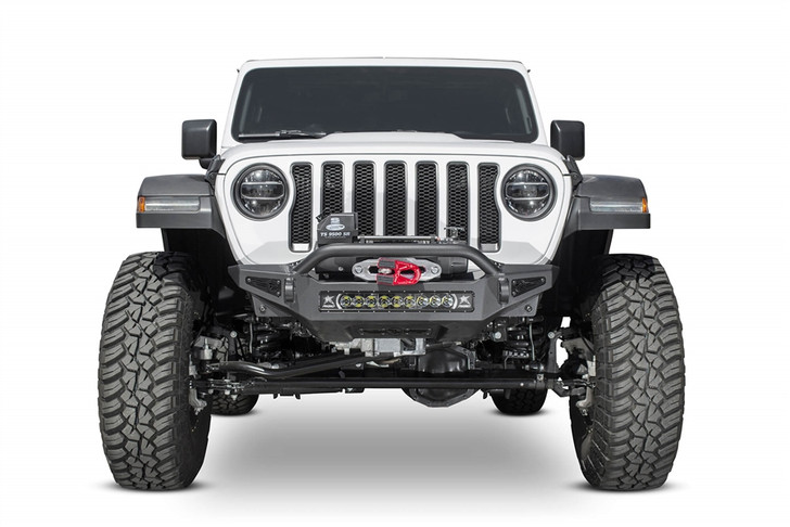 """Give your Jeep Wrangler JL a transformed look with our Stinger front bumper for the Jeep JL. The stinger winch front bumper looks good with any aftermarket fenders you put on your Wrangler. With greater approach angle to maximize offroad performance and two different style hoop options for front end protection, the Rock Fighter front bumper for the Jeep JL gives your Jeep style and functionality.A patented universal light mount system in the center of the bumper allows mounting of any brand and size of light up to a 20"""" radius light bar or up to 5 cube lights. Additional lighting can be added to the top corners of the Rock Fighter bumper with mounts for 2 cube lights per side. Two clevis mounts on the front of the Rock Fighter front bumper accept a 3/4"""" D-Ring and are reinforced to help out in tough situations.Winch mountUniversal light mount - 20"""" radius bar or 5 cube lightsRadius steel plate designGreater approach angleAvailable with top hoop or stingerReinforced clevis mounts accept a 3/4"""" D-RingFour cube light mounts on top corners100% bolt-onProudly made in AmericaINSTALLATION INSTRUCTIONS"""