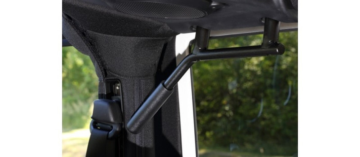 "NOTE: Some images show ""optional grips"" installed. (This is for photo purposes only, grips are an option.) Are your passengers wishing you had some solid grab handles in the back seat of your 2-door JK? Look no more... Our 3/4"" Solid Steel Rear GraBars are perfect for holding on while going down a trail! These handles come in pairs (2), and will fit all 2007-2013 JK Wranglers. (Powder-Coated in Black - Black Grade 12 Steel Mounting Bolts Included) With the front part of the rear handles being bent down, it really helps exiting the rear seat when getting out... Our GraBars do not require drilling, or modifying the Jeep in anyway, and easily install within minutes! Because they are solid steel they don't sway back and forth like other grab handles being offered by other vendors, and they are not in your way when getting in and out of the Jeep. NOTE: This product has a Lifetime Warranty! We build all our handles to last for the life of your Jeep! Built in The United States of America, Keeping our Jobs at Home!"