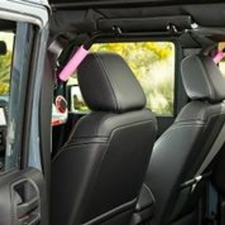 """Are your passengers wishing you had some grab handles in the back seat of your 4-door Jeep? Look no more... Our 3/4"""" solid steel (not tubing) rear GraBars are perfect for getting in and out of your Jeep, or for holding on going down a trai!. We build these handles to last for the life of your Jeep! These rear GraBars come in pairs (2), and will fit all 2007-2013 JK Wranglers. (Powder-Coated in Black - Black Grade 12 Steel Mounting Bolts Included) NOTE: This product has a Lifetime Warranty! Built in The United States of America, keeping our jobs at Home! NOTE: Dual Layer Rubber Grips are an option! (Shown for photo purposes only)"""