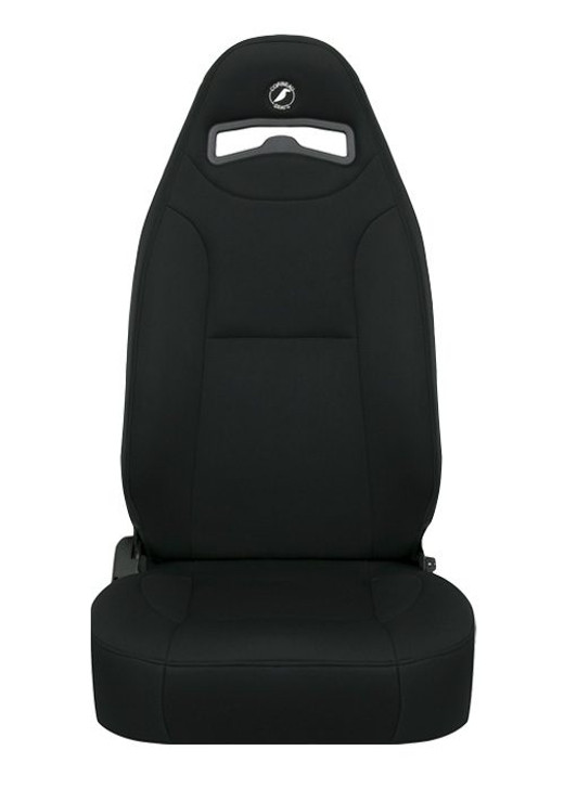 The Moab Jeep® Seat was designed as a direct bolt-in to CJ and YJ Jeeps® but will work in any other vehicle with Corbeau custom brackets. For those of you who own Jeeps® and drive them off-road, you know how bad those stock seats can be. We took the stock Jeep® Seat, added harness slots, made the bolsters more aggressive, and with that came the Moab Jeep® Seat. The Moab has moderate thigh bolsters making it easy to get in and out of . At the same time, once you are in the seat there will be minimal body shifting. The Moab is available in matching stock Jeep® black, tan, spice, and charcoal fabrics. We have a matching rear seat (Safari) that is also a direct bolt-in to CJ and YJ Jeeps®. As a rule of thumb, the Moab will fit up to a 40-inch waist. The Moab Jeep® Seat is available in Vinyl, Vinyl/Cloth Combo, and Neoprene materials.