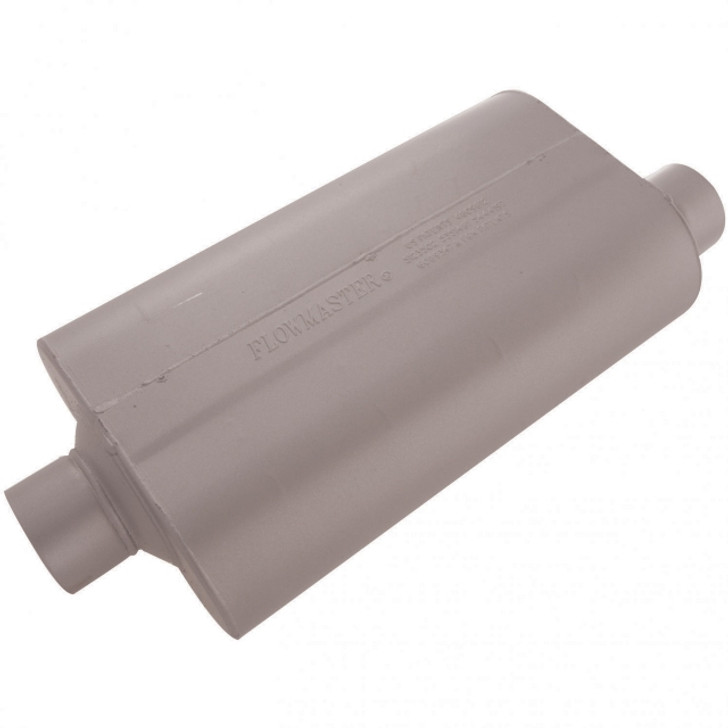 The Super 50 series muffler is a larger version of Flowmaster's 50 series Delta Flow muffler. Originally designed for trucks and SUV's, it is also well suited to muscle car and high performance applications. In addition, the larger case size significantly reduces interior resonance and provides a deep, rich tone along with mileage and power gains. Constructed of 16 gauge aluminized steel and fully MIG welded for maximum durability.Product AttributesBody Height (inches)5.00Body Length (inches)17.00Body Width (inches)10.00FinishGrayInlet diameter (inches)3.00Inlet positionCenterMaterialAluminized SteelMuffler seriesSuper 50 SeriesOutlet diameter (inches)3.00Outlet positionOffsetShapeFlowmaster CaseSound levelMild sound