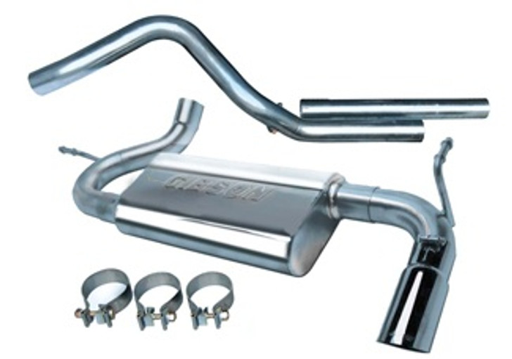 Gibson Swept Side Stainless Cat-Back Exhaust System Installing a Gibson performance exhaust system on your vehicle will eliminate the restrictive design of the stock exhaust, allowing your engine to discharge exhaust gas easier. The result is more horsepower and torque, longer engine life, and a distinctive throaty growl. All this, with an easy bolt-on installation.For the enthusiast who wants the most from their vehicle. Engineered and dyno-tested to give you improved acceleration, maximum hill climbing, towing and passing power. This is our best performing exhaust system which produces maximum torque and horsepower gains at low-end (1800 to 3000 RPMS) with a deep aggressive exhaust tone. System exits behind the rear tire near the stock location. Quieter in the cab than any other performance exhaust. Fuel economy may improve as your engine becomes more fuel-efficient. Ideal system for towing and heavy duty enough for off-road use. Typical dyno-tested horsepower gains average 15-20HP increase.Fits 2DR AND 4DRStainless Steel- 409L Stainless heavy -duty tubing, T-304 Stainless Superflow Muffler Proven increase in horsepower & torque Better fuel economy Distinctive performance sound Bolt on installationn, no welding required Mandrel-bent tubing for outstanding performance Fully welded muffler. Baffled and chambered for better volume efficiency & flow T-304 high polished stainless steel tip 50 state emissions legal Will not affect your factory warranty