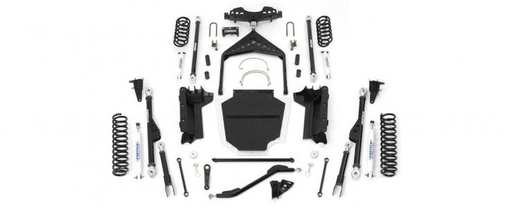 """Our Crawler system is built for the core rock crawler enthusiast that demands maximum ground clearance and articulation to handle class 5 trails with ease. Derived from the suspension on our desert race trucks, our Crawler System features Radius Arm front suspension and a 3 Link rear system. Everything is connected by a 1/4"""" thick Transfer Case skid pan tucked up tight against the frame for incredible ground clearance. This system provides zero caster and pinion angle change throughout the suspension cycle while providing more ground clearance at the link ends than any other system on the market today.The front Radius Arms are 2"""" DOM 5/16"""" thick links that pivot on our proven Rotation Urethane joints attaching to the stock axle brackets and into the 1/4"""" thick belly pan, covered with a UHMW Plastic Skid Cover. Front components include an adjustable Trac Bar with a double shear frame bracket, sway bar disconnect links, pitman arm, stainless brake hoses, bump stops, Performance shocks and coil springs. Optional Dirt Logic 2.50 Coilovers are available in place of Performance shocks and coil springs for exceptional dampening and articulation.The rear suspension is a 3 Link system with a massive tubular dimple die Wishbone that attaches to a one piece axle bracket with large 2"""" DOM 5/16"""" thick lower links. The rear 3 Link utilizes our Rotational Urethane joints on the lower links with a 1"""" spherical bearing and Rotational Urethane on the Wishbone. Rear components include extended sway bar links, bump stops, shock mounts, Performance shocks and coil springs.Kit# K4008Use 37/12.50R15 tires w/ 15x8 wheels w/ 3 3/4"""" BS w/ minor trimmingUse 37/12.50R17 tires w/ 17x8 wheels w/ 3 3/4"""" BS w/ minor trimmingOty Part # Description1 FTS24044BK Crawler Kit w/ Coil Springs2 FTS7174 Front Performance Shocks2 FTS6002 Rear Performance Monotube Shocks*FOOTNOTES33. Ship truck freight only.52. Welding required. Exhaust modification required for 00-06 models only. For use w/ stock axles only"""