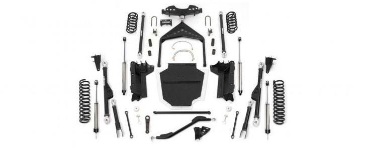 """Our Crawler system is built for the core rock crawler enthusiast that demands maximum ground clearance and articulation to handle class 5 trails with ease. Derived from the suspension on our desert race trucks, our Crawler System features Radius Arm front suspension and a 3 Link rear system. Everything is connected by a 1/4"""" thick Transfer Case skid pan tucked up tight against the frame for incredible ground clearance. This system provides zero caster and pinion angle change throughout the suspension cycle while providing more ground clearance at the link ends than any other system on the market today.The front Radius Arms are 2"""" DOM 5/16"""" thick links that pivot on our proven Rotation Urethane joints attaching to the stock axle brackets and into the 1/4"""" thick belly pan, covered with a UHMW Plastic Skid Cover. Front components include an adjustable Trac Bar with a double shear frame bracket, sway bar disconnect links, pitman arm, stainless brake hoses, bump stops, Performance shocks and coil springs. Optional Dirt Logic 2.50 Coilovers are available in place of Performance shocks and coil springs for exceptional dampening and articulation.The rear suspension is a 3 Link system with a massive tubular dimple die Wishbone that attaches to a one piece axle bracket with large 2"""" DOM 5/16"""" thick lower links. The rear 3 Link utilizes our Rotational Urethane joints on the lower links with a 1"""" spherical bearing and Rotational Urethane on the Wishbone. Rear components include extended sway bar links, bump stops, shock mounts, Performance shocks and coil springs.Kit# K4008DBUse 37/12.50R15 tires w/ 15x8 wheels w/ 3 3/4"""" BS w/ minor trimmingUse 37/12.50R17 tires w/ 17x8 wheels w/ 3 3/4"""" BS w/ minor trimmingOty Part # Description1 FTS24044BK Crawler Kit w/ Coil Springs2 FTS810221 Front Dirt Logic 2.25 Non Resi2 FTS810571 Rear Dirt Logic 2.0 Non Resi*FOOTNOTES33. Ship truck freight only.52. Welding required. Exhaust modification required for 00-06 models only. For use w/ stock ax"""