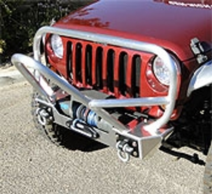 GenRight JK Front Winch Bumper w/ Stinger & Grille Guard, Aluminum