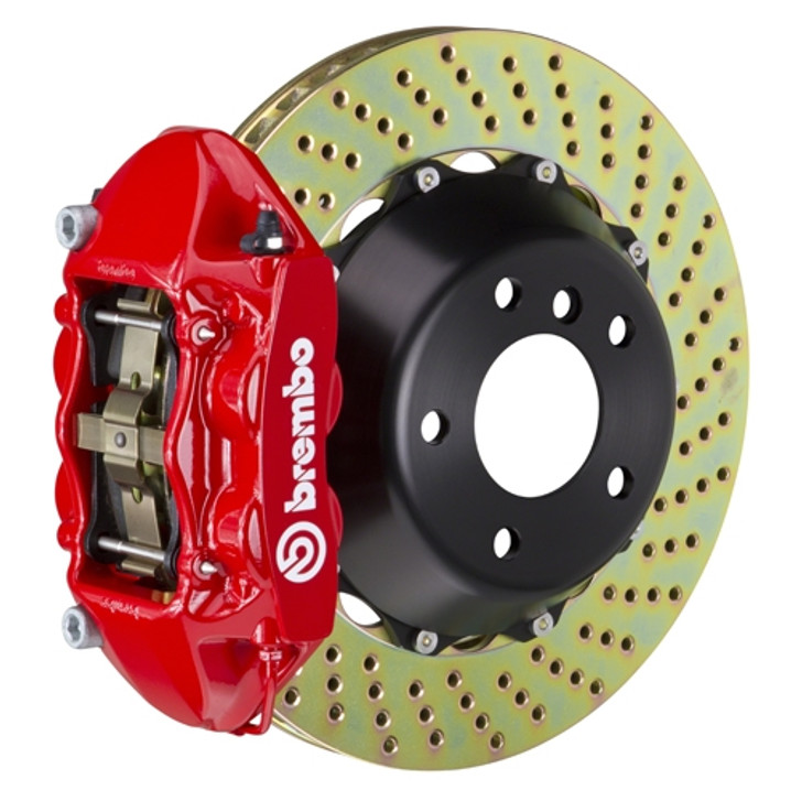 Product Description: (R) 4-Piston Monobloc Calipers | 380x28mm (15') 2-Piece Discs | Complete Axle Set | Pre-Assembled | All Necessary Hardware IncludedWheel Fitment: Brake Profile Cross SectionFront or Rear System Shown: RearIntended Use:Street-Track-Race System Dynamics: Notes: Brembo GT Systems are designed for vehicles at original ride height. Increased ride height is not compatible with the brake lines included in these systems.Caliper Body: Cast Monobloc Radial MountCaliper Piston Configuration: 4-PistonCaliper Piston Design And Insert Type: Inner Pressure Seal / OEM Approved Dust BootDisc Type: Cross Drilled-Slotted-Type 3Disc Material/Finish: Advanced High Carbon Alloy / Corrosion Resistant PlatingDisc Diameter: 380mmDisc Width (Measurement): 28mmDisc Air Gap (Measurement): 16mmDisc Annulus (Measurement): 54mmDisc Construction: 2-Piece Disc AssemblyDisc Vane Design (Measurement): Vented Curved 48 VaneDisc To Hat Mounting System: Floating D-Bobbin with Anti Rattle SpringFriction Material:Pad Compound: Brembo High Performance FM1000Pad Volume / Surface Area: 76.4 | 62.1Brake Lines: Proprietary Brembo Stainless Steel Braided Brake Lines by GoodridgeMounting Hardware: Brembo Engineered CNC Billet Caliper Adapters - All Necessary Hardware Included For Ease of Installation