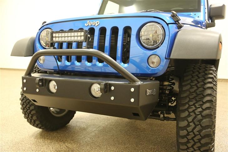 "Aluminum Rock Hard 4x4 Grille Width ""Stubby"" Front Bumper for Jeep Wrangler JK 2/4DR 2007 - 2018"