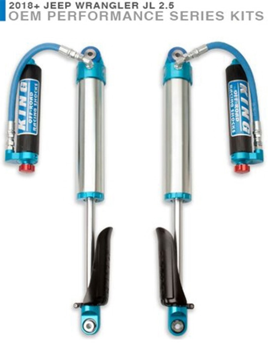 King Shocks Front Hose Res Shocks w/adjusters and finned reservoirs 0-2.5 inch lift - 25001-373A