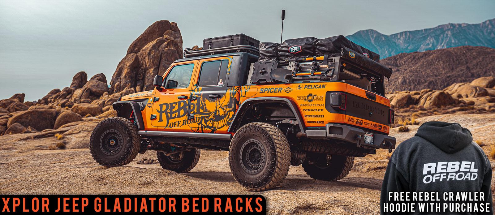XPLOR Jeep Gladiator Bed Rack Free Rebel hoodie