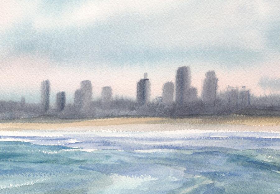 Nahant Beach and Boston Skyline