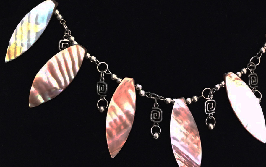 Silver and Mother of Pearl Dangle Necklace