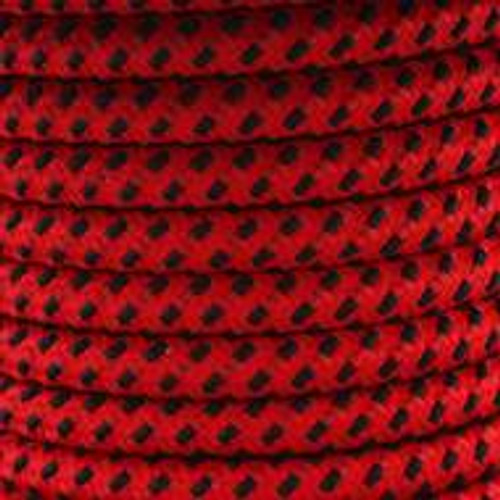 Red And Black Round Fabric Cable 3 Core 2166368