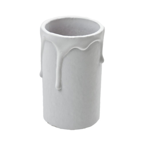 White Candle Tube Cover With Drip Effect 32 x 60mm [3038032]