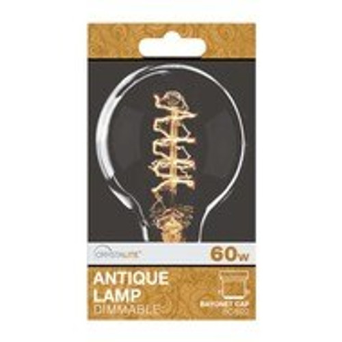 60w Crystalite Antique G80 Globe BC Clear Spiral Filament [3170660]