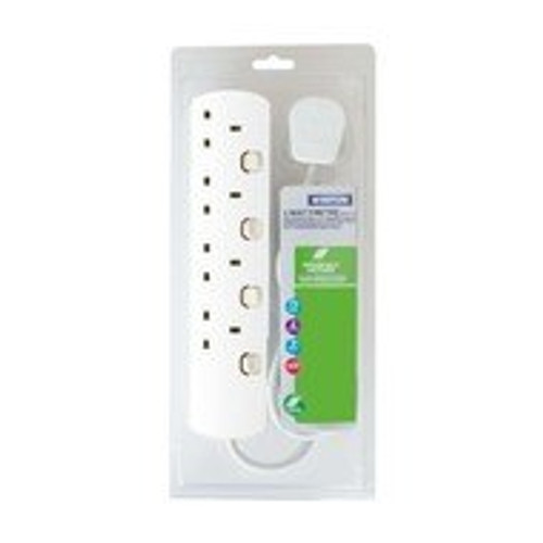 White 4 way 2 Mtr Extension Lead Individually Switched With Neon [3230756]