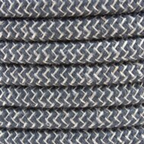 Anthracite ZigZag Cotton Round Fabric Cable 3 Core 4200450