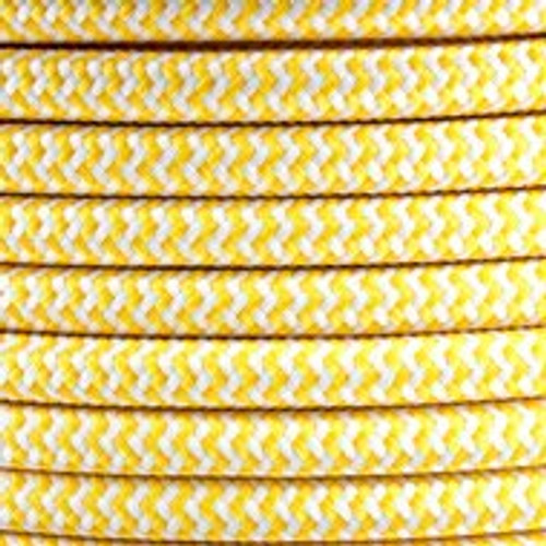 Yellow Herringbone Round Fabric Cable 3 Core 4200440