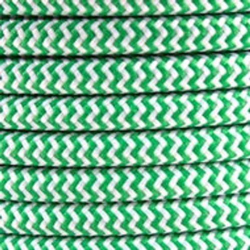 Green Herringbone Round Fabric Cable 3 Core 4200438