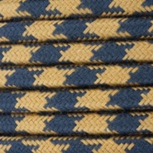 Gold and Dark Grey Round Houndstooth 3 Core Fabric Cotton Cable 4545794