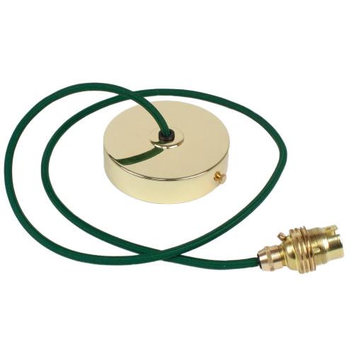 Brass Pendant Kit 1m Cable- Dark Green 4700396
