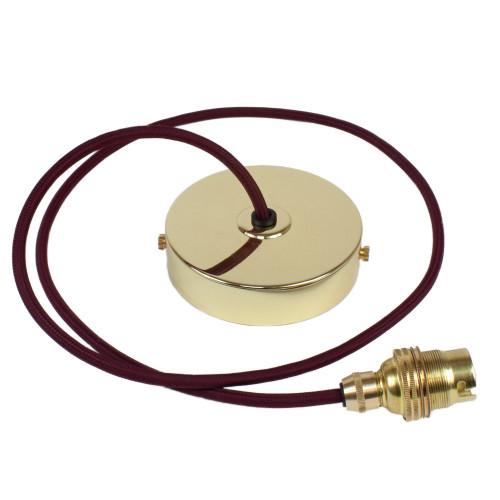 Brass Pendant Kit 1m Cable- Burgundy 4700395
