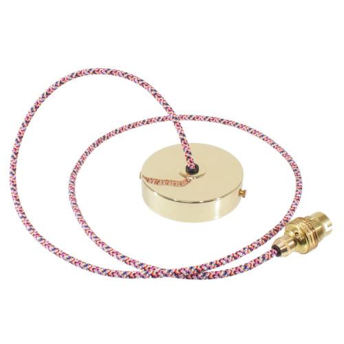 Brass Pendant Kit 1m Cable- Pixel Pink 4713358