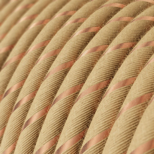 Copper threaded Jute Round Fabric Cable 3 Core 4774543