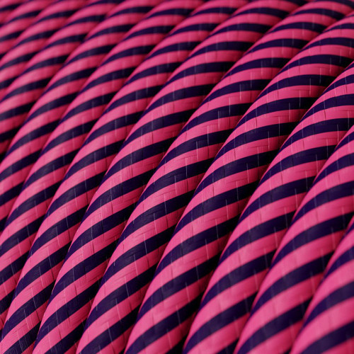 HD Pink and Dark Puple Thin Stripes Round Fabric Cable 3 Core 4774524