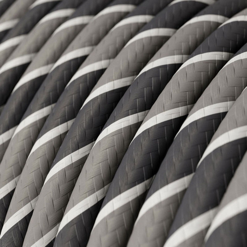 HD Light and Dark Grey Slate Round Fabric Cable 3 Core 4774519