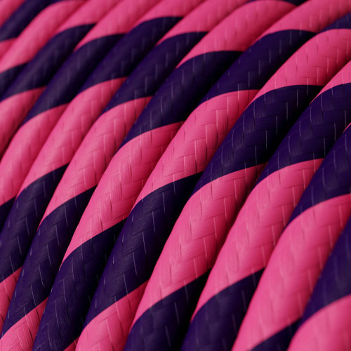 HD Pink and Purple Twist Round Fabric Cable 3 Core 4774517