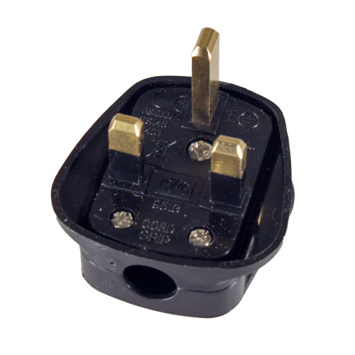 Black 13A Plug Top with 3A Fuse and Strap Cord Grip 5987086