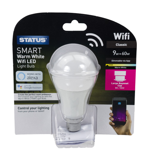 Status Smart Alexa Google Assistant Dimmable 9w Warm White BC LED Lamp 6123285