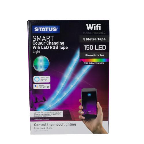 Status Smart Alexa Google Assistant 5 Metre RGB LED Strip With Controller 6123294