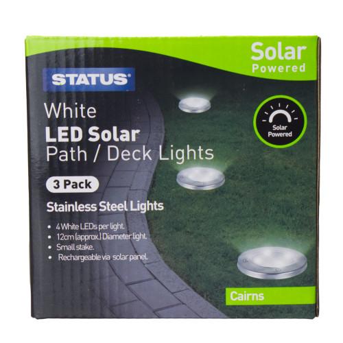 Status Stainless Steel Solar LED Ground Lights Pack 3 7097109