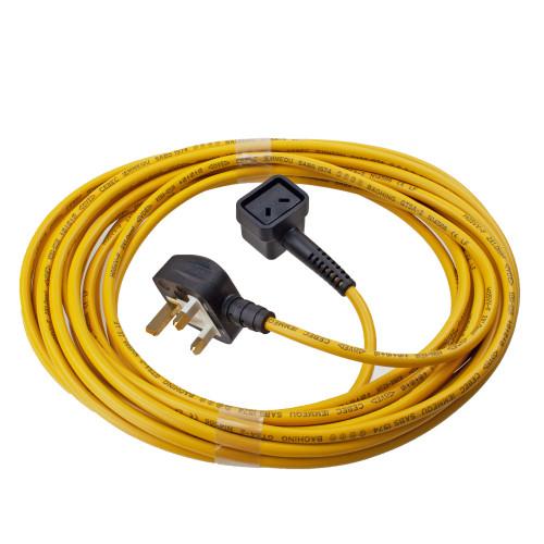 Numatic mains cable Yellow 10m 2 core 1mm flex 911549