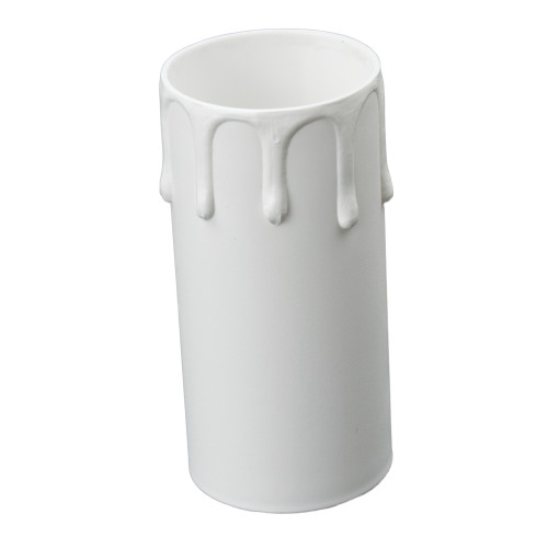 White Candle Tube Cover With Drip Effect 40 x 85mm [7167385]