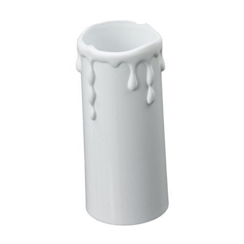 White Candle Tube Cover With Drip Effect 34 x 80mm [7167383]